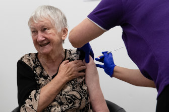The first person in Australia to receive the Pfizer COVID-19 vaccine was aged care resident Jane Malysiak.