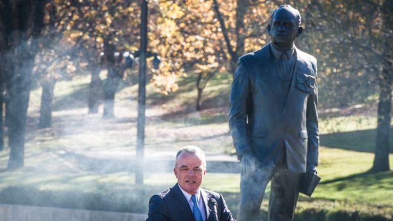 Australian War Memorial director Dr Brendan Nelson addresses a ceremony to dedicate a sculpture of General Sir John Monash in the war memorial's sculpture garden.
