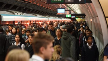 A crowded platform for metro services at Epping station at about 8am on Monday.
