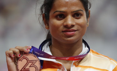 Dutee Chand after winning bronze in the women's 200m at the Asian Athletics Championships in Doha in April.
