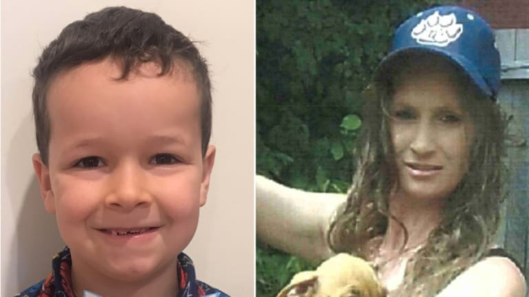 Missing boy Phoenix Mapham, 6, and his mother Tessa Woodcock, who police believe took the boy unlawfully last Thursday.