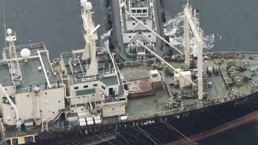 A whaling boat leaves a port in Shimonoseki, Yamaguchi, Japan, on Monday to resume commercial whaling.