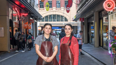 Staff from Tulip Coffee on Degraves Street, Lily Taubert-Gallagher and Veronica Bella.