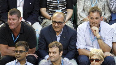 Matthew Grounds, right, with James Packer and Jac Nasser at the Australian Open in 2013.