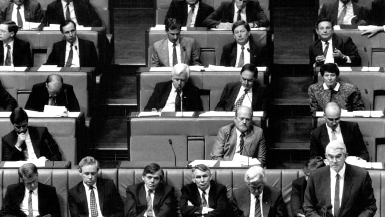 Paul Keating sits on the back bench after the first, failed leadership ballot, August 1991.