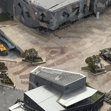 An empty Federation Square in Melbourne on August 26.