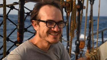 Melbourne University academic Christiaan De Beukelaer on board the Avontuur cargo sailing ship.