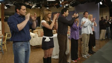 The cast of Friends at the taping of the final episode in 2004.