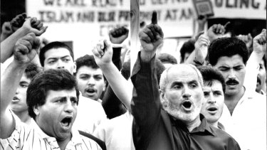 Local muslims in Arncliffe, Sydney protest against author Salman Rushdie on March 5, 1989.