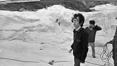 "Christo and his assistants during the ""wrapping"" of Little Bay on October 9, 1969."