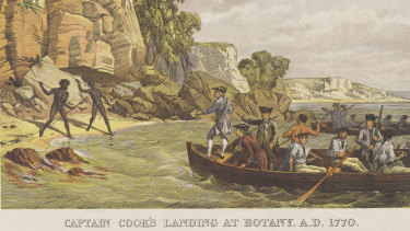 A lithograph depicting the arrival of the Endeavour, titled Captain Cook's Landing at Botany [Bay] in 1770.