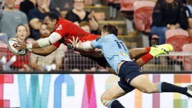 Full flight: Semisi Masirewa scores one of his two tries for the Sunwolves against the Waratahs in March. It was the low point in the home side's season.