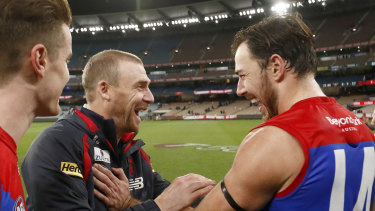 Melbourne coach Simon Goodwin (a former Bombers assistant) and Demons star, and former Bomber, Michael Hibberd share a laugh after a hard-fought win.