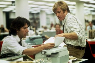 Robert Redford, right, and Dustin Hoffman portray Washington Post reporters Bob Woodward and Carl Bernstein in the movie, All the President's Men.