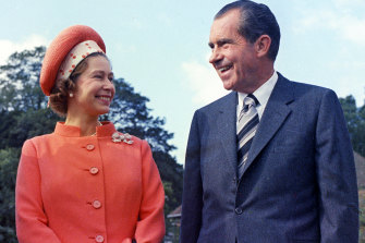 The Queen with president Richard Nixon, at Chequers, in Buckinghamshire, in 1970.