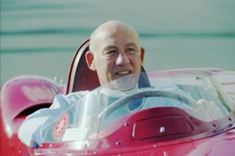 British Formula One driver Stirling Moss on the road in Melbourne in 1996.