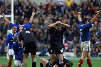 French players celebrate at the end of their World Cup semi-final victory over New Zealand.