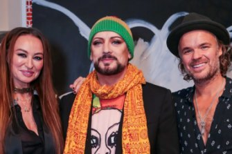 Camilla Franks, Boy George and JP Jones at the Camilla x JP Jones party in 2017.