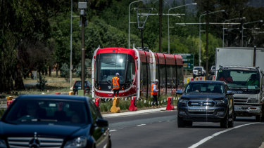 A light rail vehicle being tested on Northbourne Avenue. The project is running several months behind schedule.