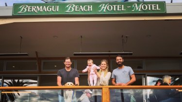 The newgeneration ofpublicansatthe Bermagui Beach Hotel – Luke and Lou Redmond and their baby Sibella and Yannis Gantner.