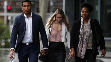 Jacob Saifiti arrives at Newcastle Local Court on Monday.