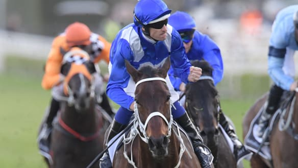 No.26: Hugh Bowman rides Winx to victory in the Winx Stakes at Royal Randwick.