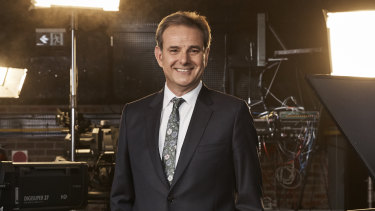 Mike Tomalaris in the SBS Television studio.
