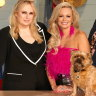 Pooch Perfect host Rebel Wilson with judges and professional dog groomers Amber Lewin and Colin Taylor