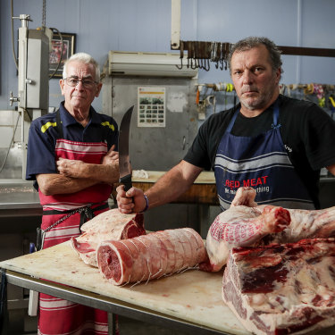 Butchers Mick Cormican and John Clarke from Flint Street Butchery in Forbes.