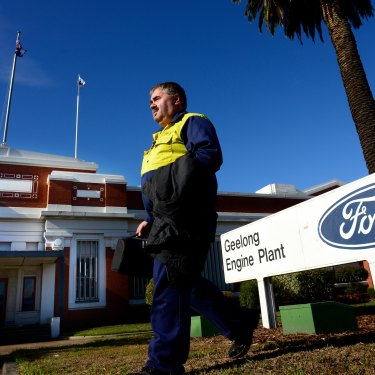 Henry Fuller leaves the Geelong Ford plant in 2013, the day the closure was announced.