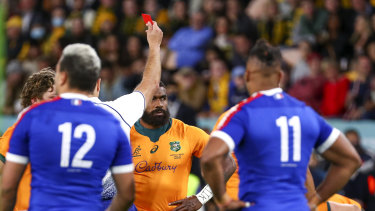The Wallabies knocked off France despite a red card to Marika Koroibete.