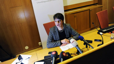 Chief Prosecutor Marianne Ny, head of the Swedish investigation into WikiLeaks founder Julian Assange, fronts the media in 2010.