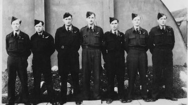 John Eppel and fellow crew members taken at their 550 Squadron base , North Killingholme 11 Nov 1944. From left to right: Johnny Harris (23) pilot, John Eppel (21) navigator, John Conway (25) bomb-aimer, Charlie Simpkins (30) flight engineer, Bob Bickford (20) wireless operator, Bill Waddell, (19) mid-upper gunner, Brian Barby (19) rear gunner.