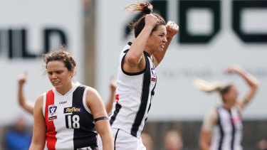 Sharni Layton celebrates the Pies' win.