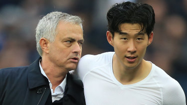 Jose Mourinho embraces Heung-Min Son after the defeat of West Ham at London Stadium.