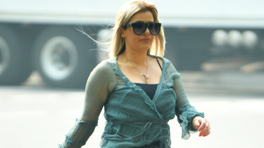 Brittany McGuire arrives at Melbourne Magistrates Court on Wednesday.