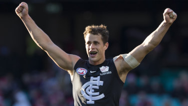 Ed Curnow celebrates the Blues' win.