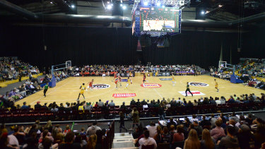 Setting the scene: A good crowd in attendance for the NBL Blizt match between Perth Wildcats and Sydney Kings at the Derwent Entertainment Centre in Hobart.
