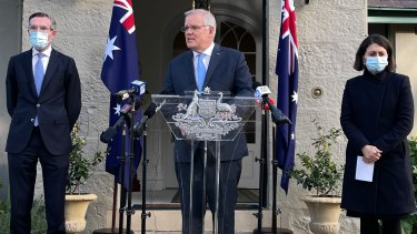 Scott Morrison announces the support measures with NSW Treasurer Dominic Perrottet and Premier  Gladys Berejiklian.