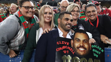Vulnerable: Despite the smiles at his official Rabbitohs farewell, Greg Inglis is reportedly struggling off the field.
