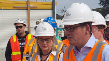 Transport Minister Jacinta Allan with Premier Daniel Andrews in Seaford on Sunday.
