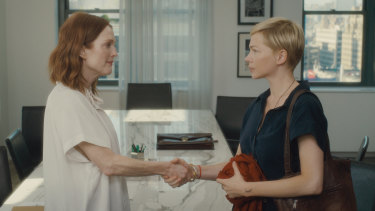 Julianne Moore (left) and Michelle Williams bring opposite acting styles to After the Wedding.