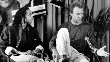 Sting at the Sebel Town House with Dolette McDonald, a member of his band the Blue Turtles.