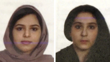 Sisters Rotana, left, and Tala Farea, whose fully clothed bodies, bound together with tape and facing each other, were discovered on the banks of New York City's Hudson River waterfront.