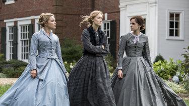 Florence Pugh, Saoirse Ronan and Emma Watson in Little Women.