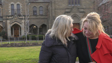 Parents Janet Mitchell, left, and Sam Baker are devastated by news of the school's planned closure.