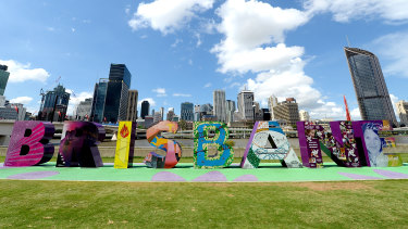 The Brisbane sign at the South Bank Parklands.
