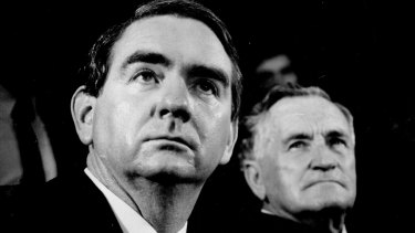 Premier and Queensland National Party leader Mike Ahern with deputy Bill Gunn on December 13, 1987.