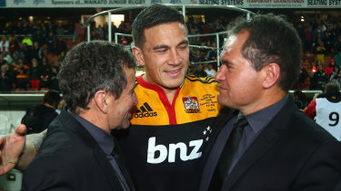 Wayne Smith (left), Sonny Bill Williams (centre) and Dave Rennie (right) celebrate after the Chiefs won the Super Rugby title in 2012.