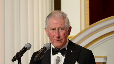 Prince Charles at the Australian bushfire relief dinner on March 12.